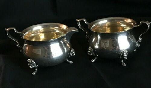"""Sterling Silver by Poole 33 Footed Creamer  & Sugar Bowl """"K"""" Monogram"""