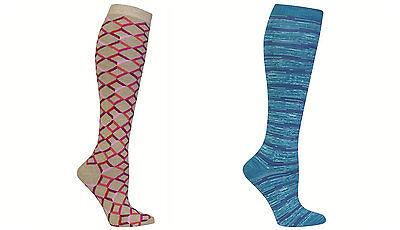 HOTSOX® HOT SOX-2 PAIR WOMENS KNEE HIGH SOCKS-TEAL / PINK-SHOE SIZE 4-10.5-NWT!