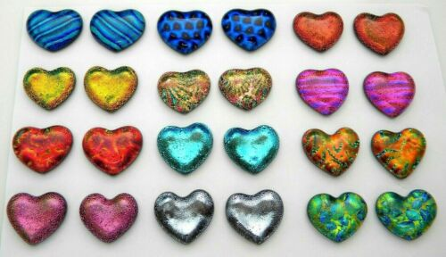 SMALL HEART Lot of 24 pcs handmade DICHROIC earrings FUSED GLASS (BF3) cabs