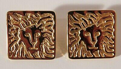 Vtg. Anne Klein Square Gold Tone Lion Head Logo Pierced Earrings