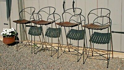SET of 4 Vintage Mid-Century Modern IRON WOOD Arthur Umanoff Raymor Bar (Maple Set Bar Stool)