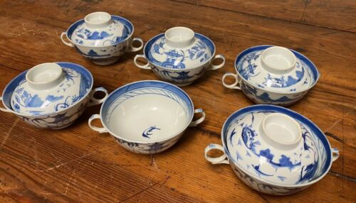 Antique Chinese Canton Porcelain Double Handle Cups/Lids Blue/White Excellent