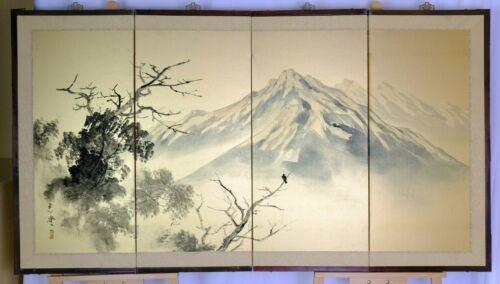 VGUC Signed Byobu Mountain Scene Gilded Satin Finish Linen 4Panel Folding Screen