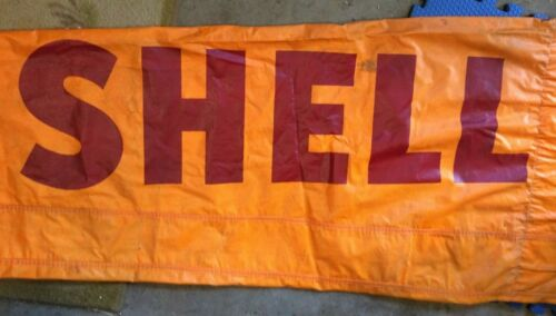 Vintage SHELL AVIATION AIRPORT WINDSOCK Huge Used 8 Ft x 28 inches