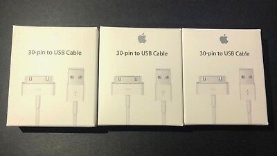 3X Autochthonous Genuine Apple iPhone 4 4S 3GS 3G 30 Pin USB Sync Data Cable Charger