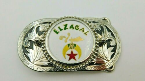 El Zagal Shriners Belt Buckle ~ Silver with Colorful Enamel