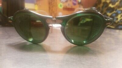 Vintage WILLSON SAFETY GOGGLES GLASSES Green Lens Retro Mad Max Steampunk
