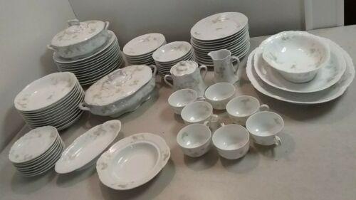 Vintage 81pc O & EG Royal Austria Dinnerware Set Pink Flowers Cups Bowls Plates