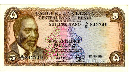 Kenya … P-1c … 5 Schillings … 1968 … *VF+*
