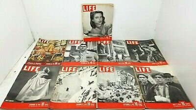 Lot of 9 Vtg 1945 LIFE MAGAZINE Basketball Fashion Jewelry ++ Great Advertising