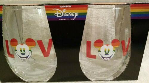DISNEY Mickey Mouse Rainbow Collection Tear Drop 20 oz Glass Set (2) NEW