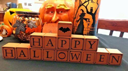"""Happy Halloween"" Orange Wooden Blocks Bat 15 Blocks Total 22"" in Length"
