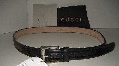 3cccf0bffe7  385 NEW GUCCI Men Black Brown Velvet Leather Logo Buckle Dress Belt 38 IN  95 CM