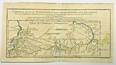 MARAGNON RIVER AMAZONIA SOUTH AMERICA 1750 NICOLAS BELLIN ANTIQUE MAP 18th