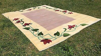 Lavender Rug w Fuchsia Flowers Room Size 8x11 Needs Cleaning Local Pickup Only