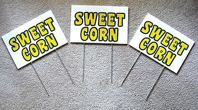 3 Sweet Corn Plastic Coroplast Signs New 8 X 12 With Stakes