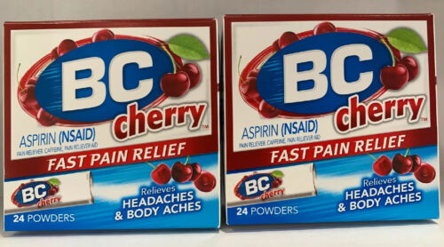 2 X BC Aspirin Fast Pain Relief Powders 24 Cherry Flavored O