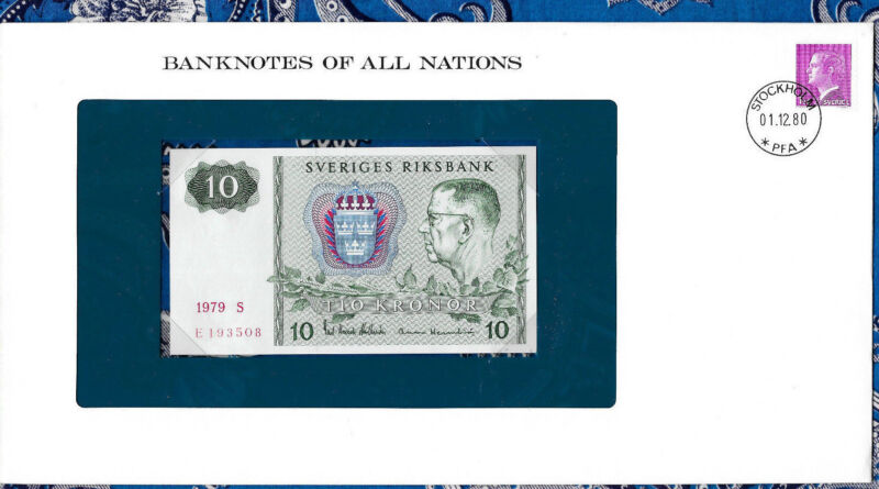 *Banknotes of All Nations Sweden 10 Kronor 1979 serie S P-52d UNC BIRTHDAY  1935