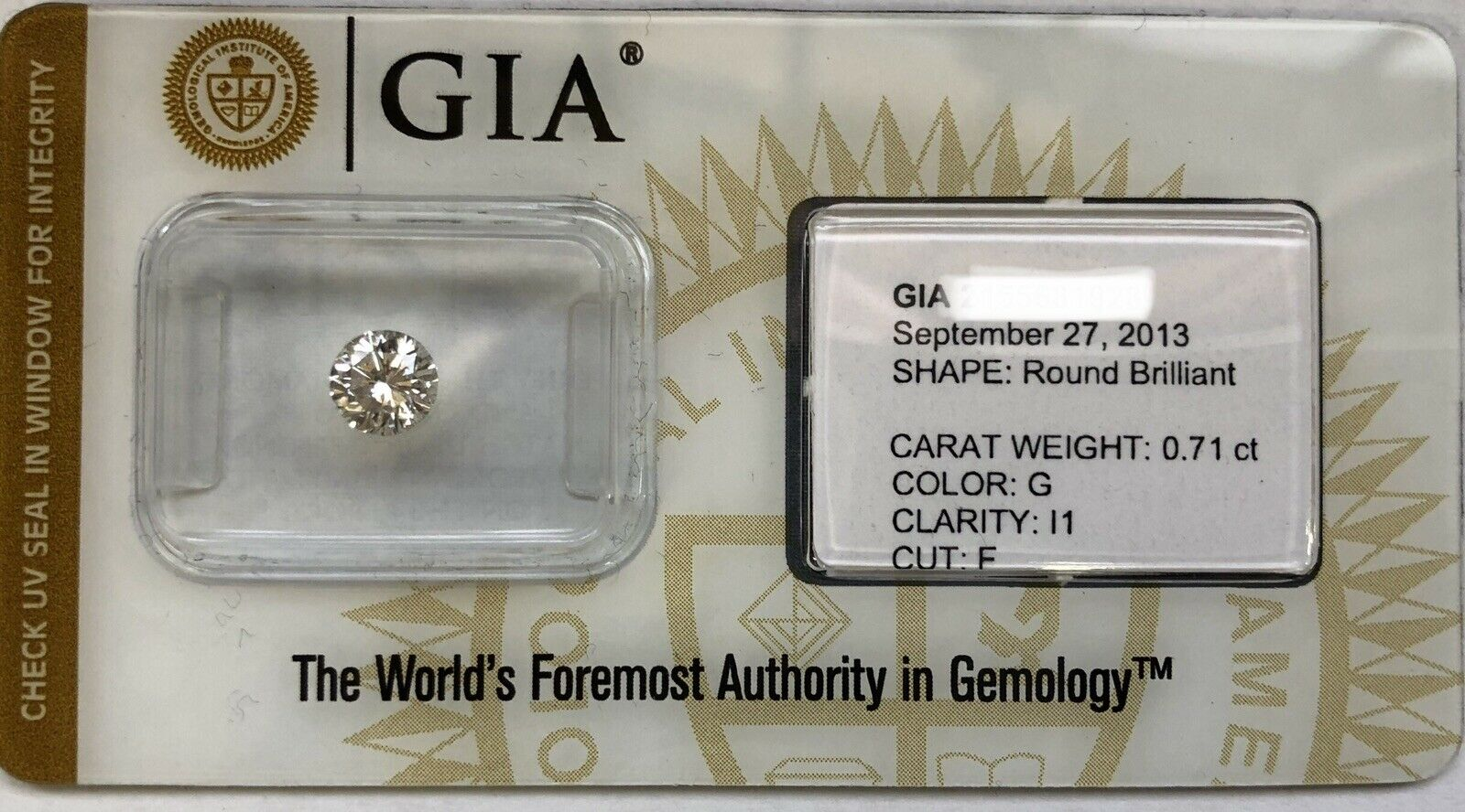 GIA Certified 0.71 Ct Round Brilliant G I1 Fair Cut Loose Natural Diamond