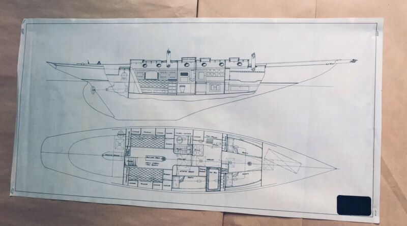Curtis Mabry California Yachts 1930's Original Vellum Ink (draft) 34x17 Exc.