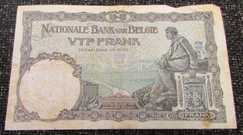 1926 Belgium 5 Francs Banknote