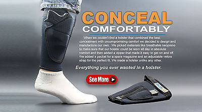 Concealment Holster - BUGBite Ankle Holster 2.0 NEW Model Pistol Handgun Conceal - Right + Left Hand