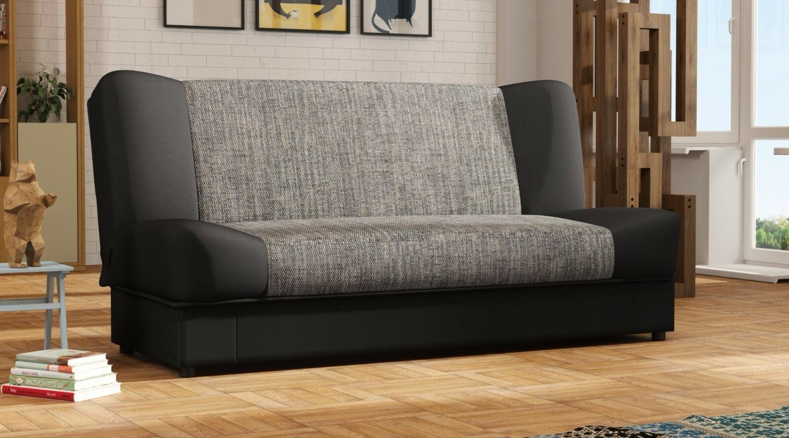 cansas sofa couch 3 sitzer webstoff schwarz stoff kunstleder weiss eur 219 00 picclick de. Black Bedroom Furniture Sets. Home Design Ideas