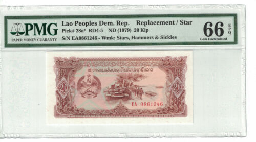 LAO 20 Kip 1979 Replacement/Star  Pick# 28a* PMG: 66 EPQ (#PL909)