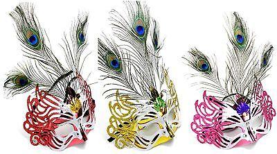 3 Venezianische Masken mit Feder und Glitzer LUX Halloween Maske Farb Mix NEU