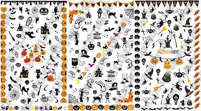 3 Fogli Water Decals Halloween Party NAIL art ADESIVI STICKERS UNGHIE TRANSFER