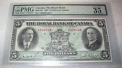 Canada Royal Bank Banknote  5 Dollars Chartered Bank 1927  Vf 35 By Pmg