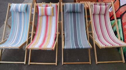 New Outdoor Timber Folding Lounge Striped Deck Chairs Beach Chair Richmond Yarra Area Preview