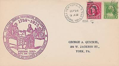 1932 George Washington Federal Hall Station  Ny Cancel Bicentennial Red Cachet
