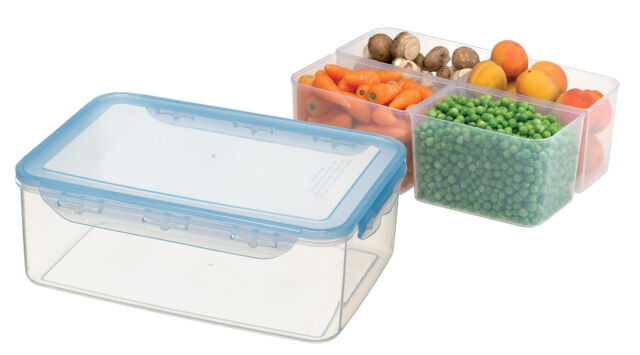 5.2Ltr Very Large Airtight Food Storage Container With 4 Plastic Compartments