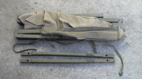 Old Relic US Military WW2 era 1945 Dated Barracks Bed Cot Folding Canvas // USED