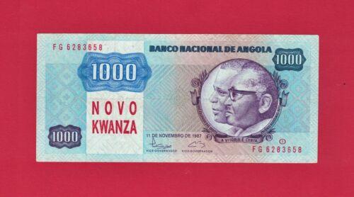 """ULTRA-RARE ANGOLA OVERPRINT BANKNOTE (P-124) """"NOVO KWANZA"""" Printed on Note P121b"""