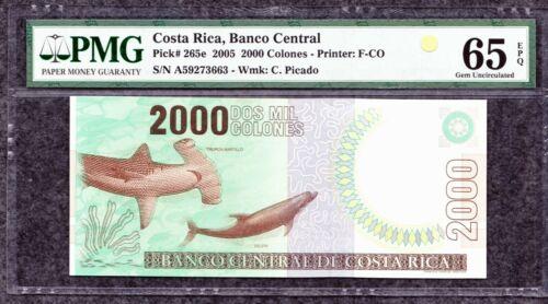 2005 Costa Rica 2000 Colones Front Hammerhead Shark / Dolphin Back Coco Island