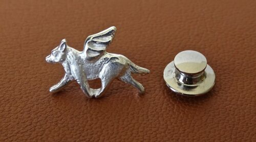 Small Sterling Silver Australian Cattle Dog Angel Lapel Pin