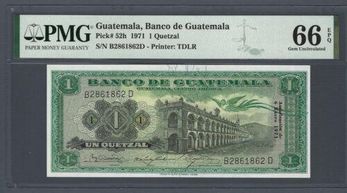 GUATEMALA 1 Quetzal 1971, P-52h Pack Fresh UNC, PMG 66 EPQ Gem Uncirculated