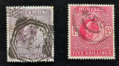 GB Edward VII 2/6 and 5/- values used and unshaded.
