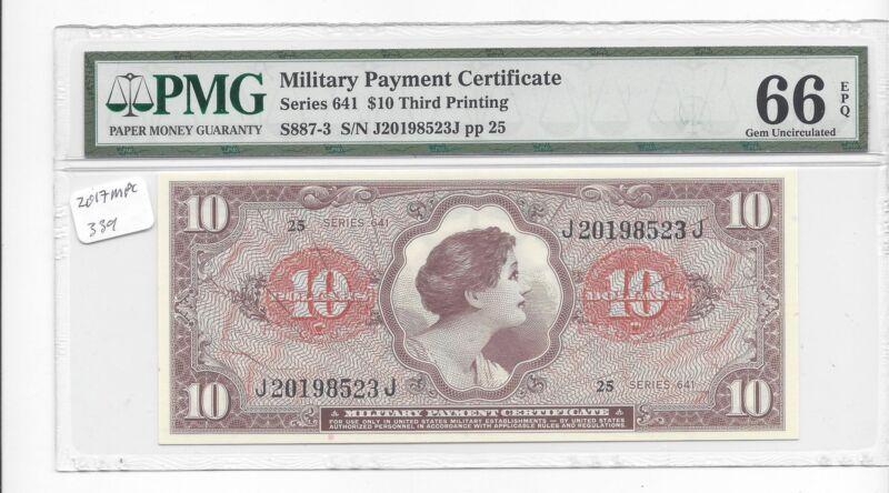 MPC Series 641  10 Dollars  3rd  printing  PMG 66EPQ  GEM  UNC