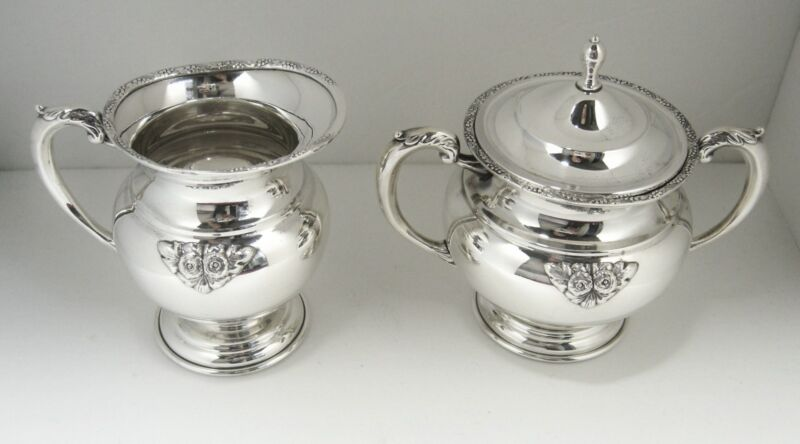 Japanese Sterling Silver 950 Creamer and Sugar Bowl w/ Lid Set  Mint