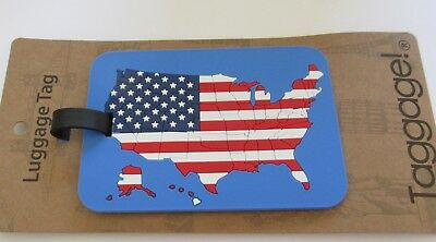 Luggage Tag -AMERICAN FLAG -map of U.S. rectangular -use for kids & adults