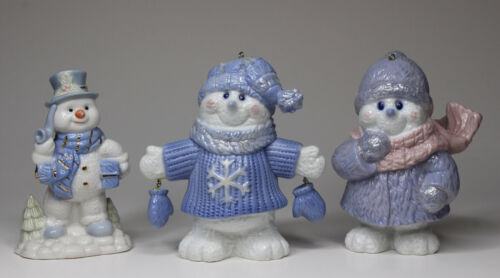Christmas Snowman Blue and White Vintage Figurines Lot of 3 Porcelain Ornaments