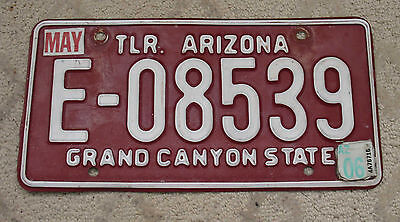 "23 - ARIZONA ""GRAND CANYON STATE"" MAROON BASE TRAILER LICENSE PLATE"
