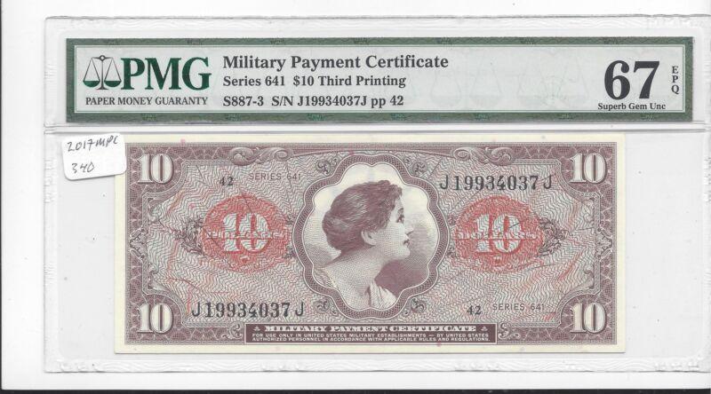 MPC Series 641  10 Dollars  3rd  printing  PMG 67EPQ  SUPERB GEM  UNC