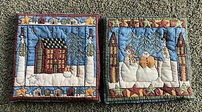"""WINTER FOLK ART SNOWMAN SCENE PILLOW COVERS HAND QUILTED SET OF TWO 16""""X16"""""""