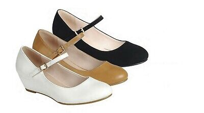 New Women's Mary Jane Pump Low Wedge Heel Shoe Round Closed Toe ()