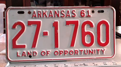 ARKANSAS - 1961 passenger car license plate - great red on grey colors