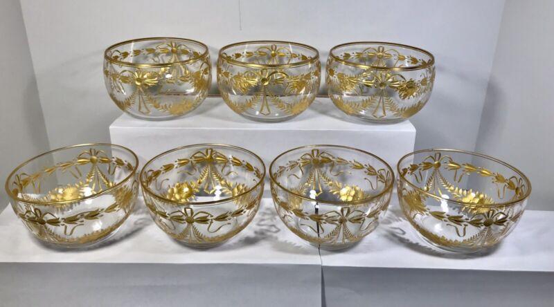 Set of 7 Antique Bohemian Moser Gold Encrusted Berry/Dessert Bowls
